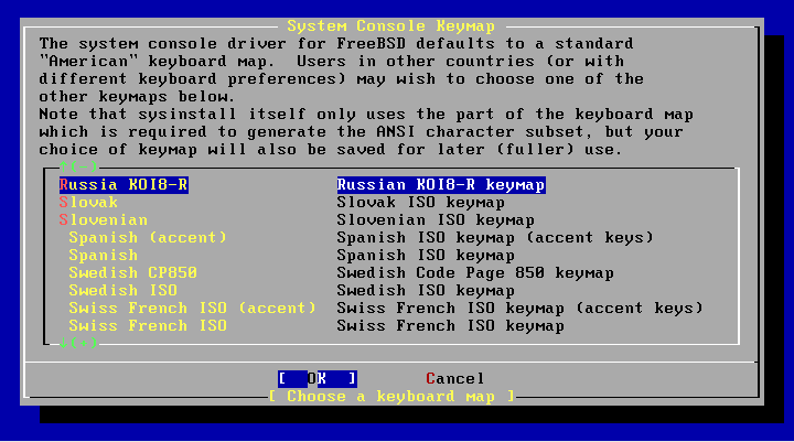 Выбрать раскладку FreeBSD