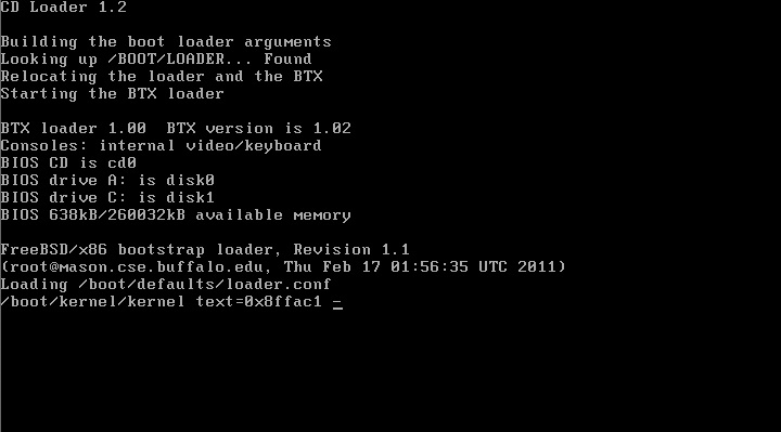 Загрузка инсталлятора FreeBSD